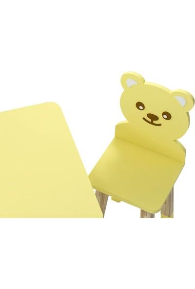 Odun Concept Ahşap Çocuk Oyun ve Aktivite Masa Sandalye Takımı Ahşap Bear Sarı