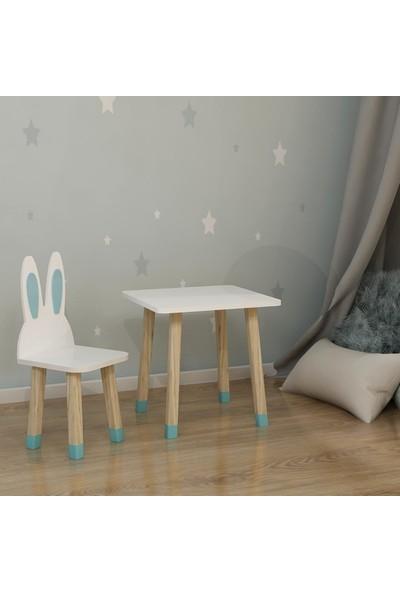 Odun Concept Ahşap Çocuk Oyun ve Aktivite Masa Sandalye Takımı Ahşap Tavşan