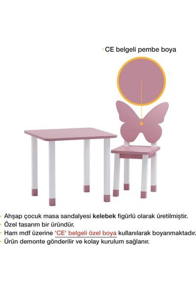 Odun Concept Ahşap Çocuk Oyun ve Aktivite Masa Sandalye Takımı Kelebek Ahşap