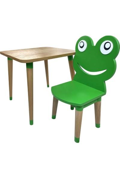 Odun Concept Ahşap Çocuk Oyun ve Aktivite Masa Sandalye Takımı Kurbağa Ahşap