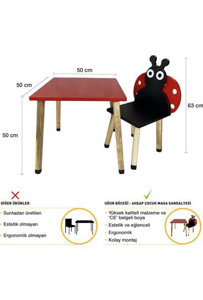 Odun Concept Ahşap Çocuk Oyun ve Aktivite Masa Sandalye Takımı Uğur Böceği Ahşap