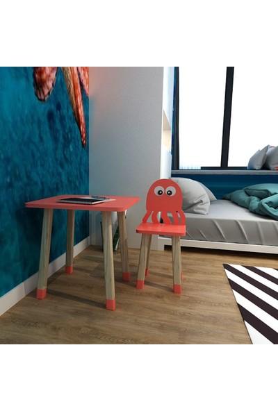 Odun Concept Ahşap Çocuk Oyun ve Aktivite Masa Sandalye Takımı Ahtapot Kırmızı