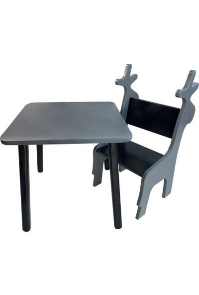 Odun Concept Ahşap Çocuk Oyun ve Aktivite Masa Sandalye Takımı Ahşap Geyik/gri