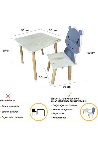 Odun Concept Doğal Ahşap Çocuk Aktivite Masa ve Sandalye Takımı Baby Hippo/bebek Su Aygırı