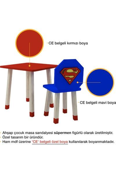 Odun Concept Ahşap Çocuk Oyun ve Aktivite Masa Sandalye Takımı Ahşap Süpermen