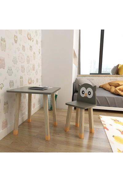 Odun Concept Ahşap Çocuk Oyun ve Aktivite Masa Sandalye Takımı Ahşap Baykuş Gri