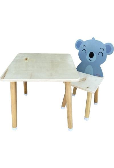 Odun Concept Doğal Ahşap Çocuk Aktivite Masa ve Sandalye Takımı Koala
