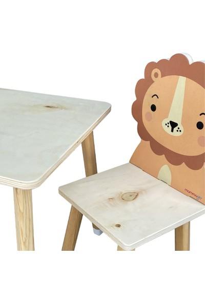Odun Concept Doğal Ahşap Çocuk Aktivite Masa ve Sandalye Takımı Lion/aslan