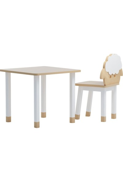 Odun Concept Ahşap Çocuk Oyun ve Aktivite Masa Sandalye Takımı Kuzu Ahşap