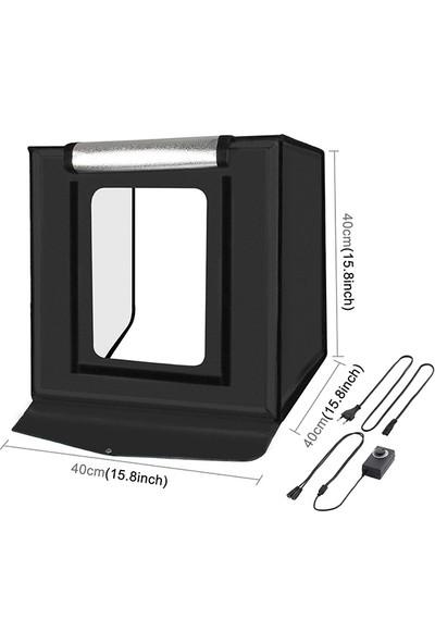 Puluz Profesyonel 40 x 40CM LED Işıklı Ürün Fotoğraf Çekim Çadırı Katlanabilir Portatif 30W 5500K AL-32482