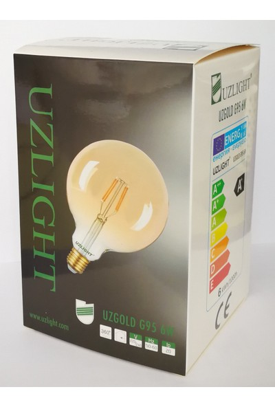Uzlight Rustik G95 Top LED Ampul E27 Duy Sarı Işık 6 W 6'lı