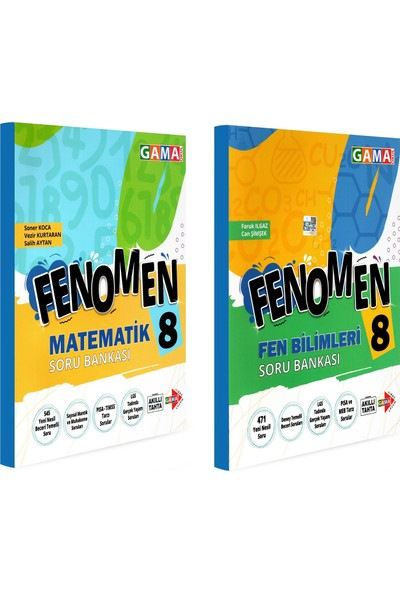 Gama Yayınları 8. Sınıf Fenomen Matematik Fen Bilimleri Soru Bankası Seti 2 Kitap