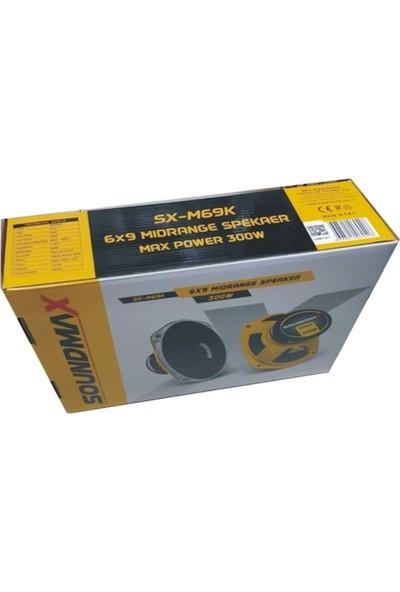 Soundmax SX-M69K 6x9 Inch 300W Mıdrange Hoperlör (Kapaklı)