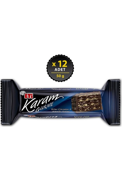 Eti Karam Gurme Bitter Çikolatalı Gofret 50 g x 12 Adet