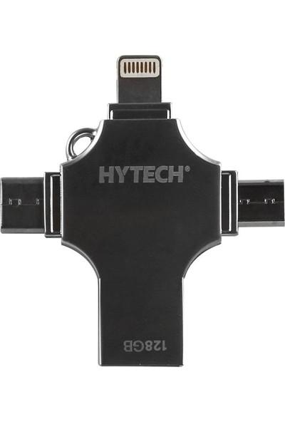 Hytech HY-XUFO31-128 128GB USB 3.0 + Lightning + Micro + Type-C OTG Flash Bellek
