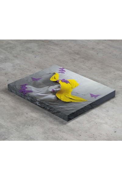 Jasmin Sarı Şapkalı Kadın ve Mor Kelebekler Kanvas Tablo