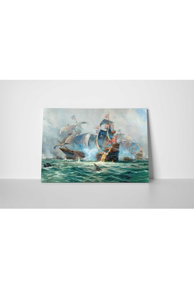 Jasmin Illüstrasyon Gemiler Kanvas Tablo