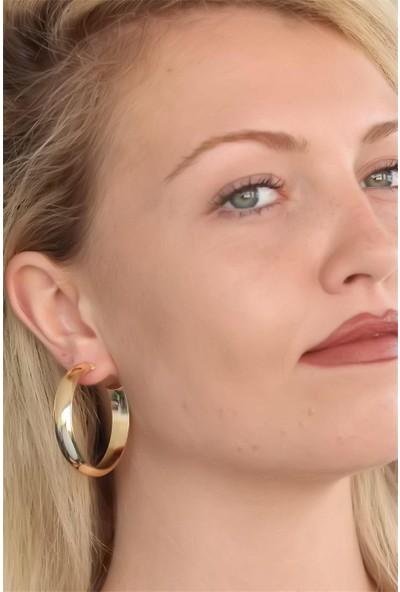 Bu Farklı Halka Model Gold Kadın Küpe