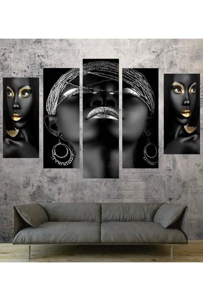 Renk Vagonu 5 Parça Afrikalı Kadın Tablo