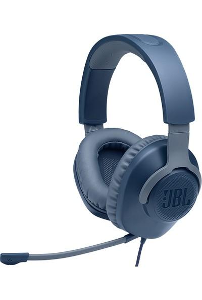 JBL Quantum 100 Çıkarılabilir Mikrofonlu 3.5mm Gaming Kulak Üstü Kulaklık - Mavi