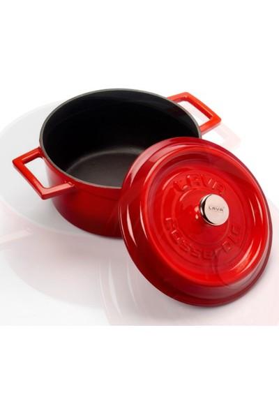 Lava Trendy Yuvarlak Döküm Demir Tencere Çap (Ø) 20 cm Kırmızı