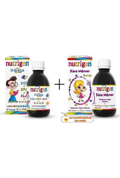 Nutrigen Omega 3 Balık Yağı Şurubu Çilek Aromalı 200 ml + Nutrigen Kara Mürver 200 ml