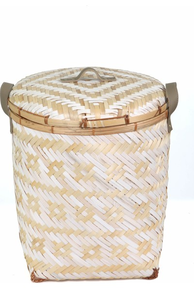 Kanca Ev Doğal Malzemeden Bambu Beyaz Örgü Desenli Deri Saplı Sert Hasırdan Kapaklı Çamaşır Sepeti Büyük