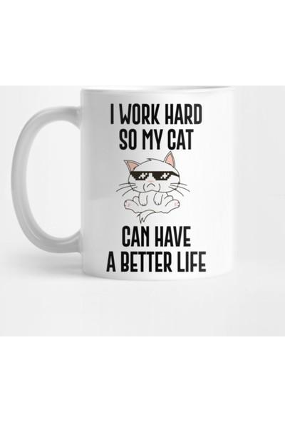 Fizello Kedi Tasarımlı Kupa Bardak