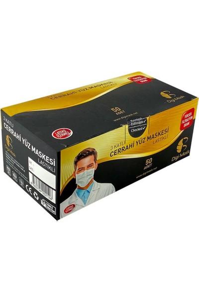 Digimask 3 Katlı Telli Full Ultrasonik Cerrahi Maske 50'li 5 Kutu