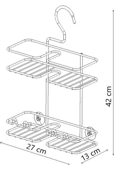 Tekno-tel Asılabilir Kancalı Askılı Banyo Rafı Krom BK067