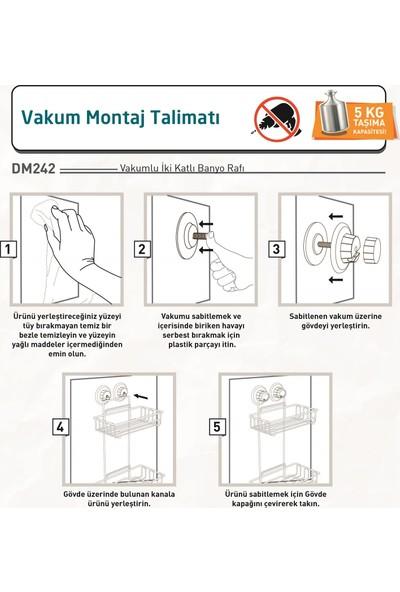 Teknotel Vakumlu 2 Katlı Banyo Rafı Mat Siyah DM242