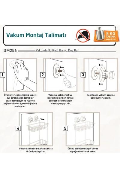 Tekno-tel Vakumlu 2 Katlı Banyo Rafı Mat Siyah DM256