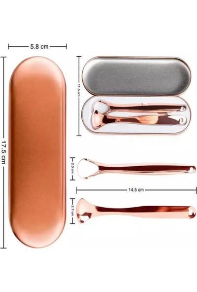 Qax Kutulu Metal Gold Bakır Iki Çeşit Dil temizleyici Dil Sıyırıcı Hijyenik