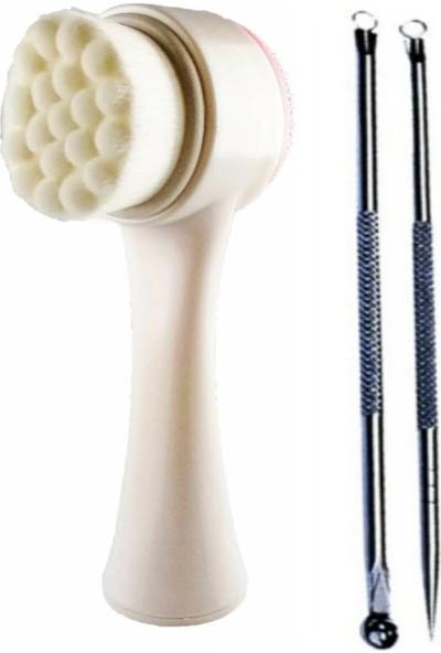 Qax Cilt ve Yüz Temizleme Fırçası ve 2 Li Akne ve Siyah Nokta Temizleyici Komedon