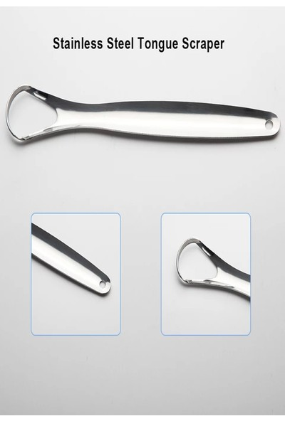 Qax Metal Dil Sıyırıcı Dil temizleyici Gümüş Ağzı Açık Paslanmaz Çelik