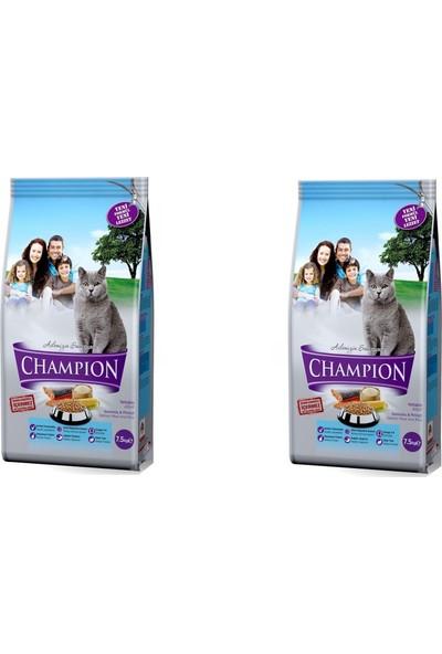 Champion Somonlu Pirinçli Yetişkin Kedi Maması 15 kg (7,5 kg x 2 Adet) SKT-02-2022