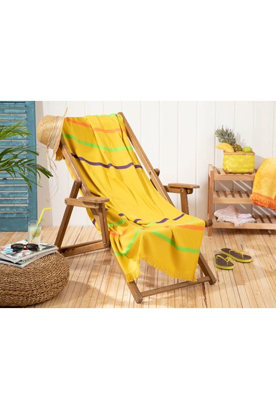 English Home Thin Stripe Pamuklu Plaj Havlusu 80x150 Cm Sari