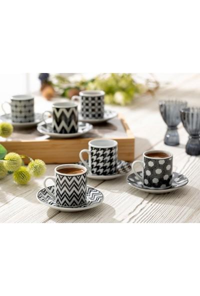 Englısh Home Rony Porselen 12 Parça Kahve Fincan Takımı 80 Ml Siyah
