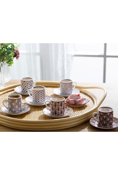 Englısh Home Danny Porselen 12 Parça Kahve Fincan Takımı 80 Ml Bordo
