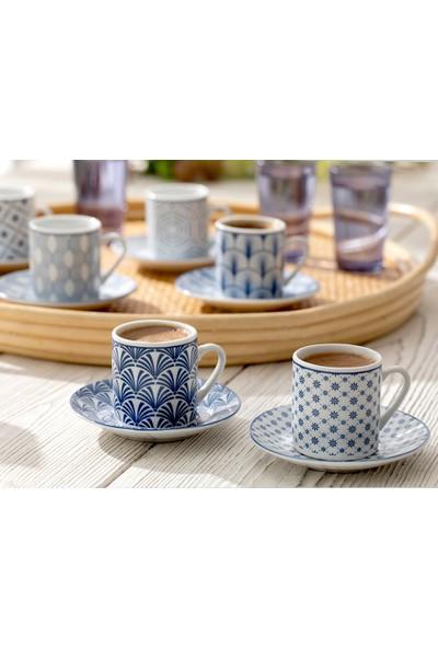 English Home Solita Porselen 6'Lı Kahve Fıncan Takımı 80 Ml Mavi
