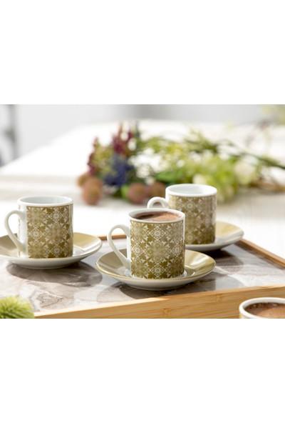 Englısh Home Bradley Porselen 12 Parça Kahve Fincan Takımı 80 Ml Yeşil
