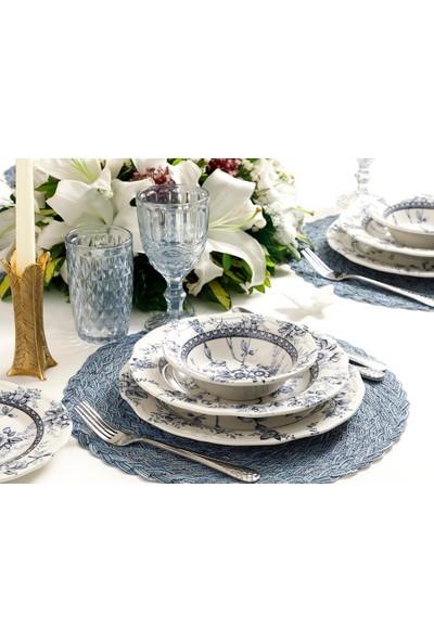 English Home Roseanne Porselen 24 Parça Yemek Takımı 17cm-24cm-26cm-20cm Mavi