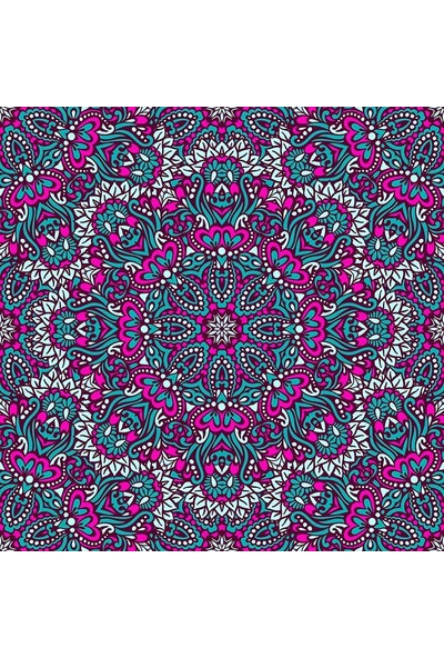 Henge Mandala Etkili Desen Pembe Turkuaz Mor Fon Perde 150 x 160 cm