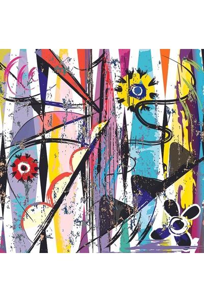 Henge Karalama Sarı Mor Renkli Yağlı Boya Tablo Fon Perde 150 x 160 cm