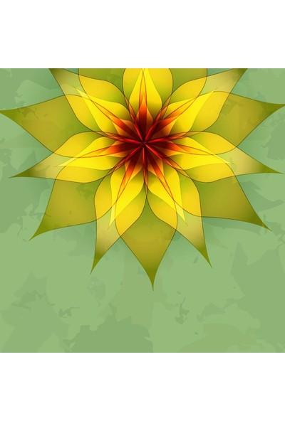 Henge Yeşil Antika Arka Plan Sarı Çiçek Desenli Fon Perde