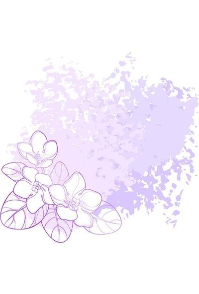 Henge Menekşe Çiçek Pastel Doku Desenli Mor Fon Perde