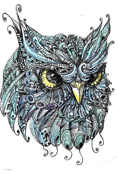 Henge El Karalama Baykuş Kafa Desenli Mavi Fon Perde