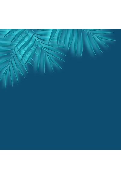 Henge Petrol Mavi Renk Zemin Yeşil Tropik Yaprak Desenli Fon Perde 150 x 160 cm
