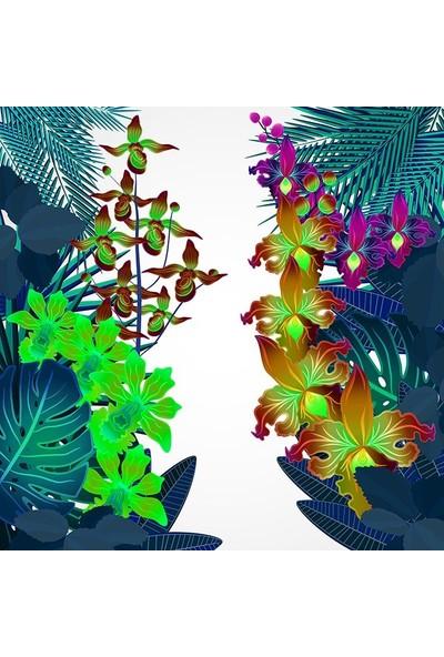 Henge Neon Renklerde Karşılıklı Dallı Tropik Çiçekler Desenli Fon Perde 150 x 160 cm