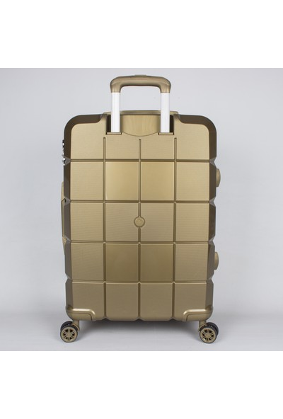 Bagacar Silikon Kırılmaz Pp Valiz Kabin Boy Gold